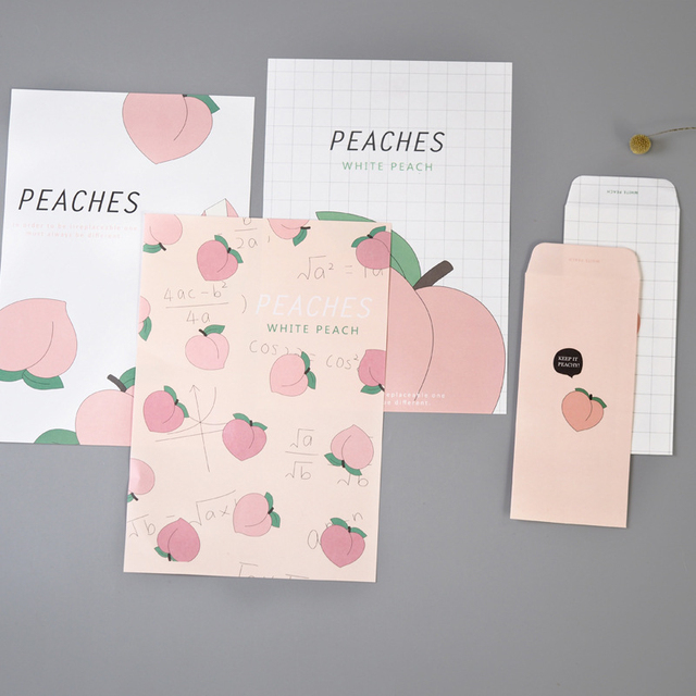 9pcs Set Romantic Pink Honey Peach Fruit Series Envelopes Paper For