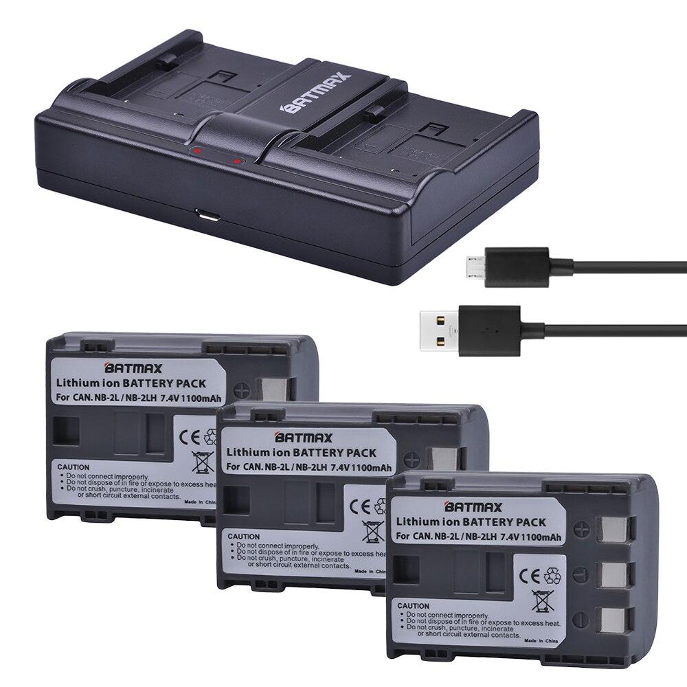 Batmax 2x baterias NB-2L NB 2L NB2L NB-2LH batería + cargador Dual del USB para Canon EOS 400D S80 S70 S50 s60 350D G7