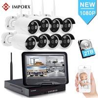 IMPORX Новый 8CH NVR 1080 P CCTV Wi Fi IP камера 2MP беспроводной видео системы наблюдений системы скрытого видеонаблюдения с 10 дюймов ЖК дисплей безопасно...