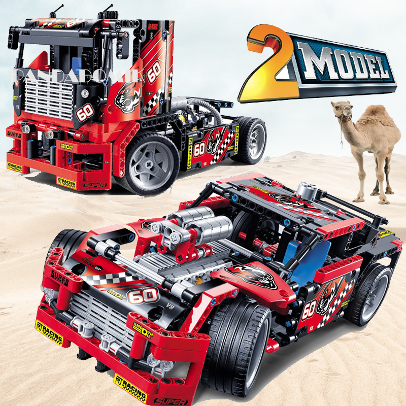 Race Truck 2 Models in 1 Set Racing Car Technic Building Blocks Toys for Kids and Adult Building Toy Bricks Compatible Brick les enfants pj racing mission cruiser car dessin maskmm toy anime pj car big truck display jouet children bithday gift toys
