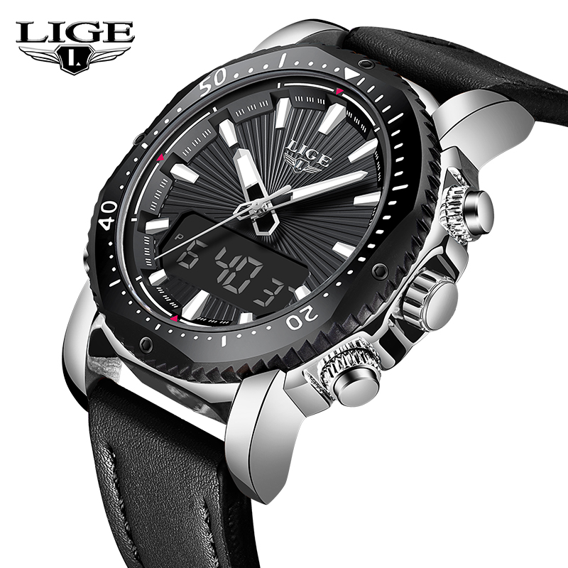 LIGE Top Brand Luxury Mens Watches LED Digital Analog Clock Leather Waterproof Strap Double Display Sport Watch Relogio MasculinLIGE Top Brand Luxury Mens Watches LED Digital Analog Clock Leather Waterproof Strap Double Display Sport Watch Relogio Masculin