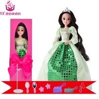 Caixa de Presente Sapo UCanaan Princesa Boneca Brinquedos Da Moda Vestidos de Noiva de Cabelo Longos e Grossos 12 Do Órgão Conjunto Bonecas de Presente de Natal