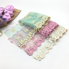 Beautiful 1 Yard Embroidered Tulle Lace Wide 14cm Lace Fabric DIY Handmade Lace for Sewing Accessories Embroidered Clothing кружево для шитья diy lace garden 7 14cm lt048 diy embroiered