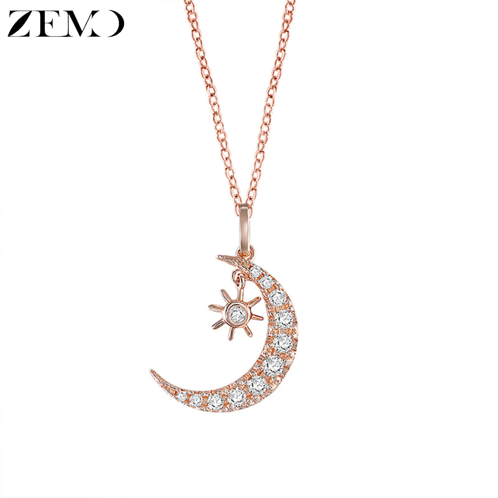 ZEMO  Rose Gold Necklace Crescent Moon Pendant Chain Necklaces Crystal Sun and Islamic Israeli Jewelry for Women