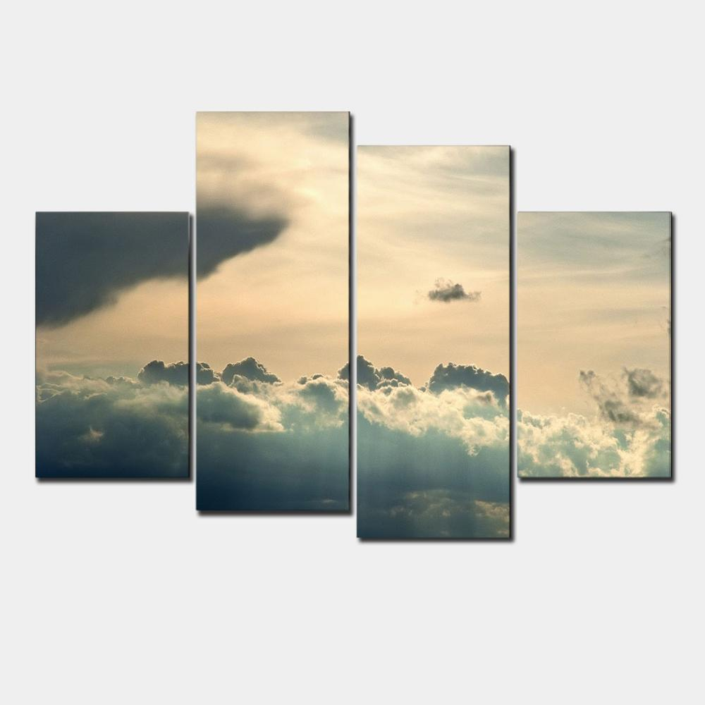 4 Panel sunset sky HD Wall painting print on canvas for home decor ...