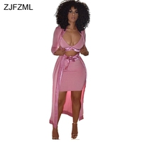 ZJFZML Special design 2018 popular casual 3 piece set women pink v neck crop top and sexy bandage dress and long sleeve cardigan