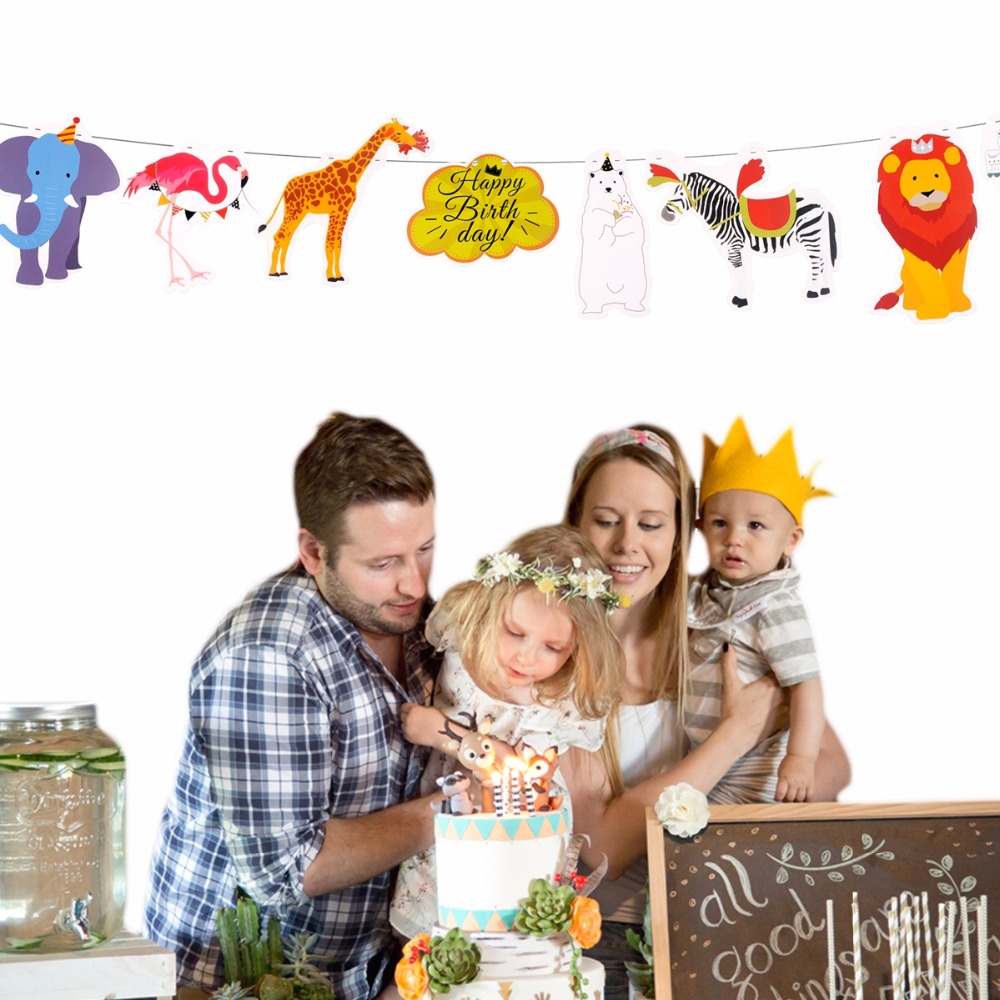 PATIMATE Jungle Animal Banner Cake Topper Flag Birthday Banner Safari Jungle Theme Party Decorations Kids Birthday Party Favors in Cake Decorating Supplies from Home Garden