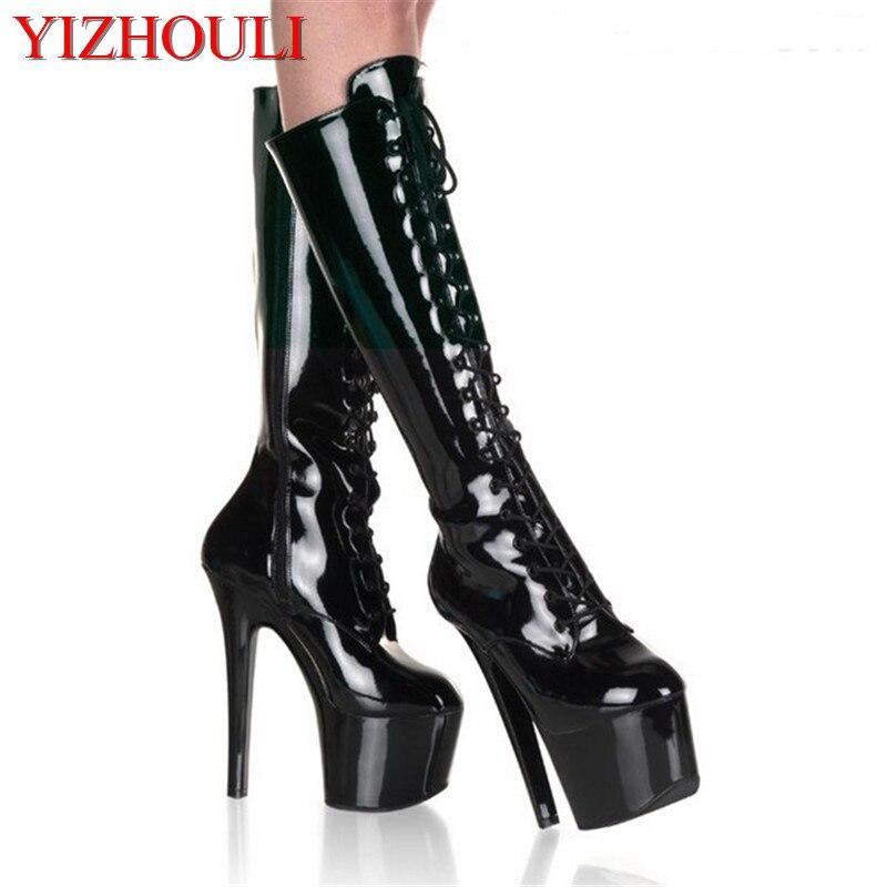 Ayakk.'ten Diz Hizası Çizmeler'de 15 cm, kadın botları, kadın lanky yükseklik ve PU deri ayakkabı, ayakkabı, ilkbahar ve sonbahar motosiklet Dans Botları'da  Grup 1