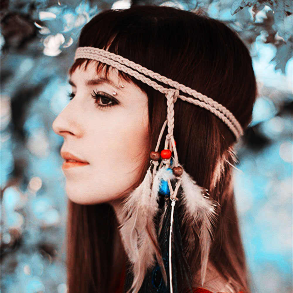 Bohemian Hippie Headband Dream Catcher Feather Headdress Fashion Indian  Peacock Feather Headbands Hair Accessories 4a80b0973cd