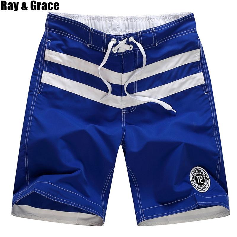RAY GRACE Beach Shorts Men Quick Dry Breathable Running Shorts Swimwear Board Shorts Swimsuit Trunks Beachwear Sports Shorts