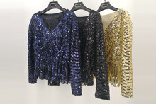 Sexy  V neck sequins Top Shirts European style womens batwing sleeve Blouses shirt A107