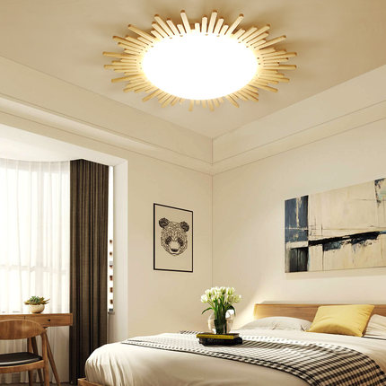 Nordic creative solid wood living room bedroom led round ceiling light-in Ceiling Lights from Lights & Lighting    2