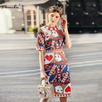 Truevoker Europe Summer Designer Dress Women S Short Sleeve Abstracct Printed Jacquard Knee Length Pencil Vestido