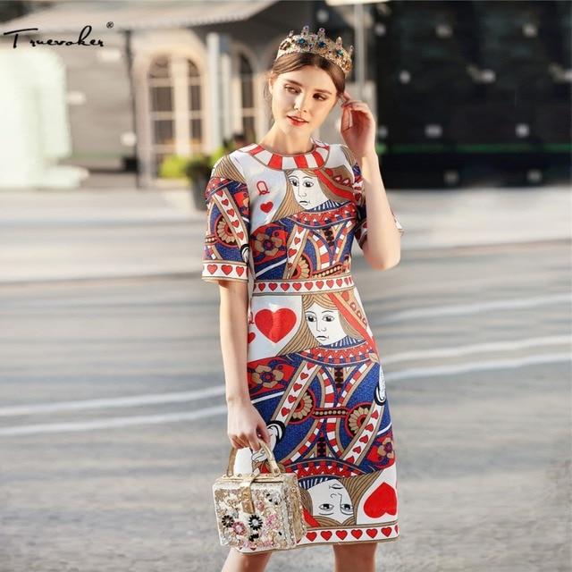 Truevoker Europe Summer Designer Dress Women s Short Sleeve Abstracct  Printed Jacquard Knee Length Pencil Vestido 3b57c6e5cd77