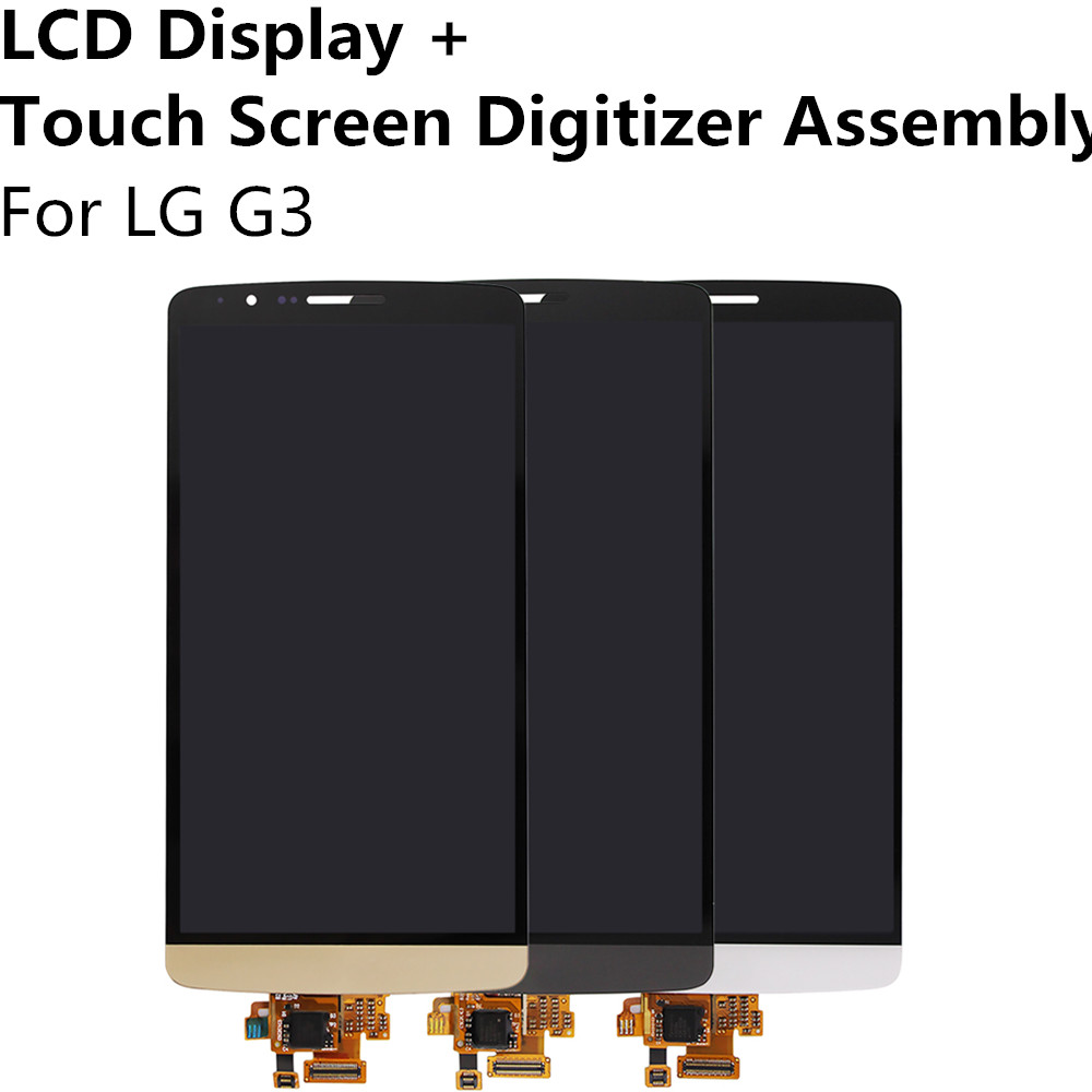 все цены на  Gold White Gray LCD Display + Touch Screen Digitizer Panel Glass Sensor Lens Assembly For LG G3 Replacement Part Repair Parts  онлайн