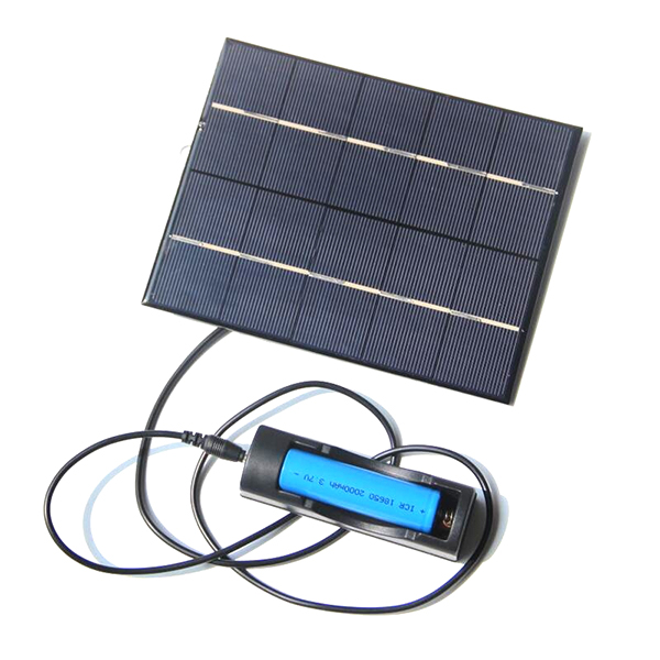 TOP 3.5W 5V Solar Panel With DC35MM Base For 18650 Rechargeable Battery+USB Output For Mobile Power Banks