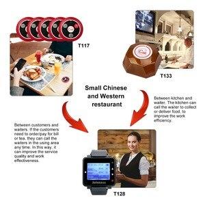 Image 2 - RETEKESS kablosuz çağrı sistemi restoran çağrı Beeper 1 izle alıcı + 1 düğmesi mutfak + 5 çağrı düğmesi müşteriler için