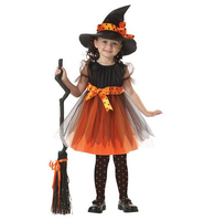 Halloween Christmas Costumes Kids Girls Children Witch Dress 1 Hat Cap Costume Bow Knot Party Cosplay