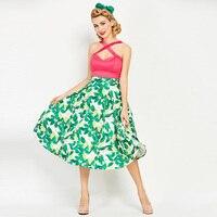 Sisjuly Vintage Dresses 50s 60s Summer Mid Calf Women Green Sleeveless Dress Strapless 2017 Patchwork Rockabilly