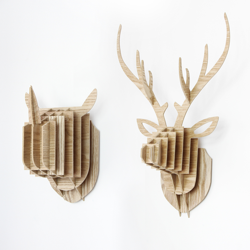 2pcs DIY Creative Wood Deer Rhino Hanging Head Combination Kindergarten Animal Head Wall Act The Role Ofing Metope Adornment