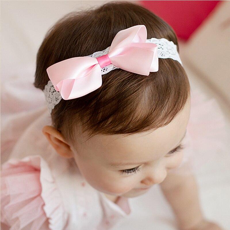 Classic Headbands Hair Elastic Bands Ribbon Bows font b Kids b font Cute Girls Head Wraps