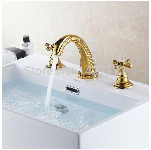 Bathroom Polished Golden Finish Brass Basin Widespread Faucet Dual Handles Sink Mixer Tap Deck Mounted antique brass widespread bathroom faucet 3pcs 8 sink mixer tap dual handles