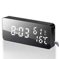 Multifunction LED Mirror Alarm Clock Digital Color change Clock Snooze humidity Display Time Night Light Desktop wall Clock