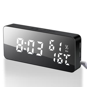 Alarm-Clock Digital Led-Mirror Humidity-Display Time-Night-Light Desktop Multifunction