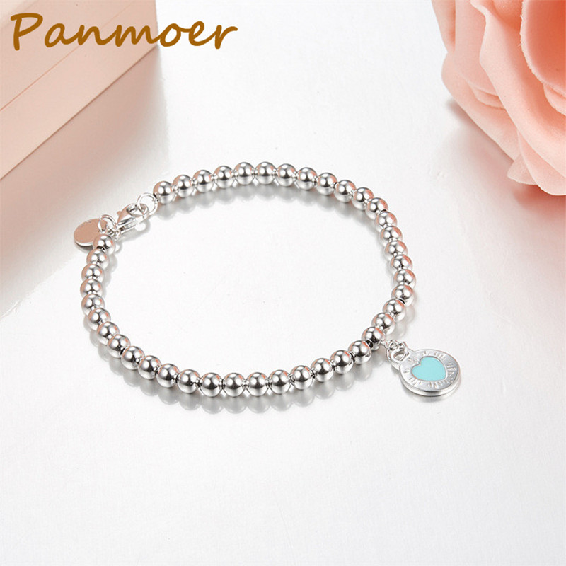 Hot sell brand 100% 925 Sterling Silver Original Round Heart Chain Tiff Bracelet Bangle For Women Authentic Fine Jewelry Gift trendy letter heart round rhinestone bracelet for women