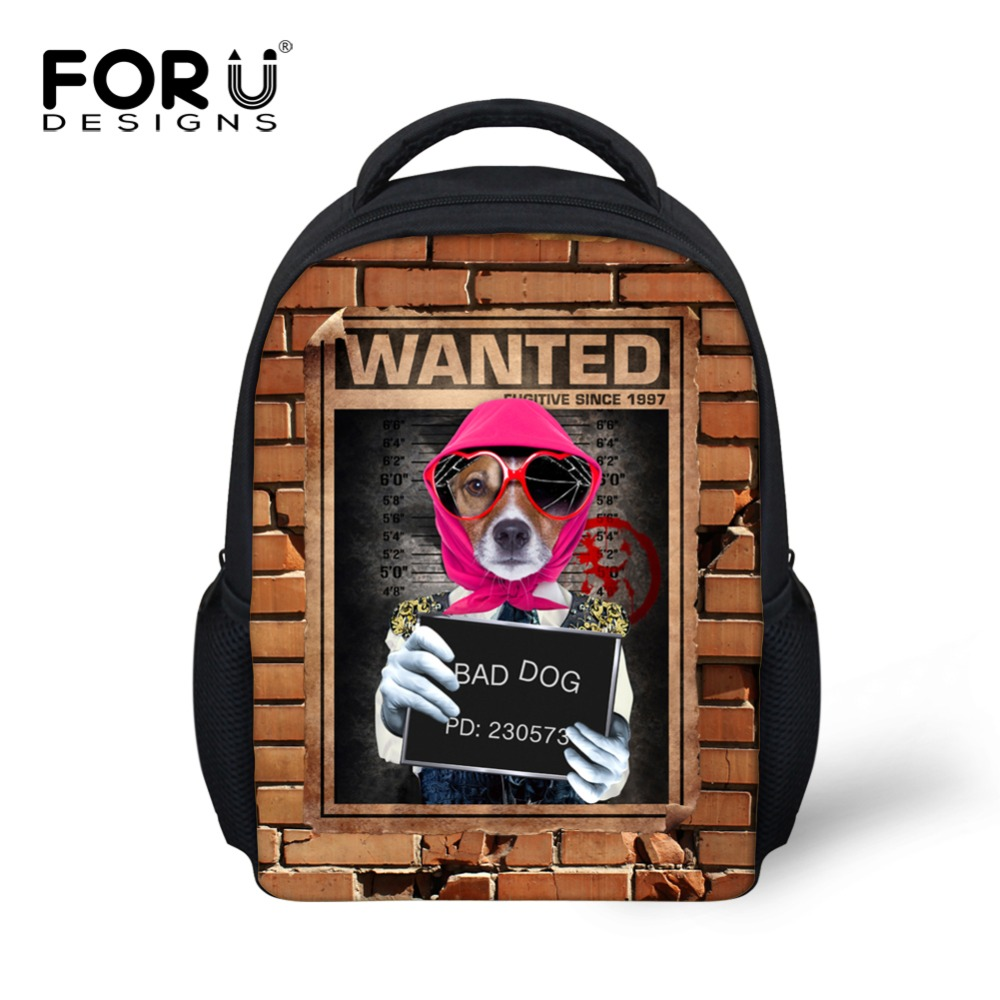 ⑥super Cool Bad Dog Printing Backpack For School Boys Girls 12inch