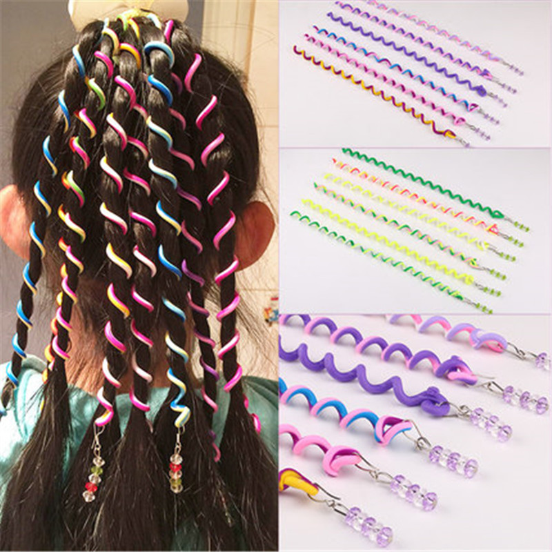 6pcs/lot Headband Rainbow Color Cute Girls Hair band Crystal Long Elastic Hair Bands   Headwear   Hair Accessories Random Color