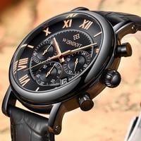 WISHDOIT Творческий Кварц Для мужчин часы кожа Хронограф военный спортивные часы Для мужчин Relogio Masculino Reloj Hombre 8851