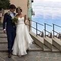 Querida Plissado Longo de Chiffon Praia Vestidos de Casamento 2017 Mangas Com Cinto De Cristal Vestido de Casamento do País Vestido de Noiva
