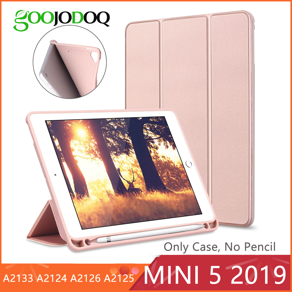 For iPad Mini 5 Case Mini 2019 Case with Pencil Holder Tri-fold Stand Soft TPU Back Cover for New iPad Mini 5th Generation FundaFor iPad Mini 5 Case Mini 2019 Case with Pencil Holder Tri-fold Stand Soft TPU Back Cover for New iPad Mini 5th Generation Funda