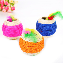 Natural Sisal Ball Cat Toy Scratching Post Mouse Catnip Actinidia interactive Interactive Feather Toys Cats Product