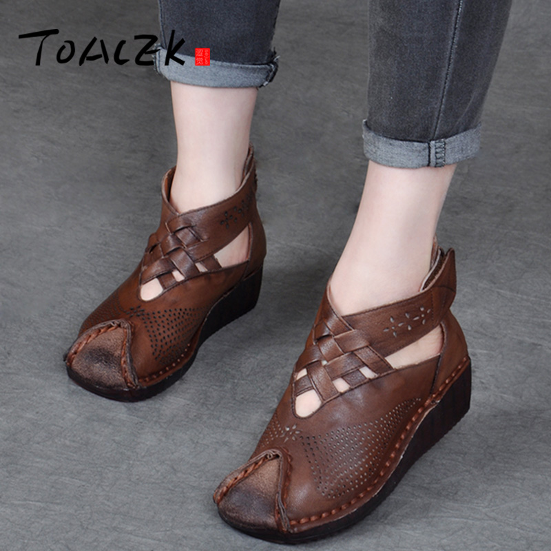 Retro hand stitched sandals thick bottom slopes with women s shoes leather cave cool boots summer