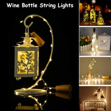 Fairy Mini String Lights 2M 20LEDS Wine Bottle With Cork Built In Battery LED Shape Silver Wire Colorful