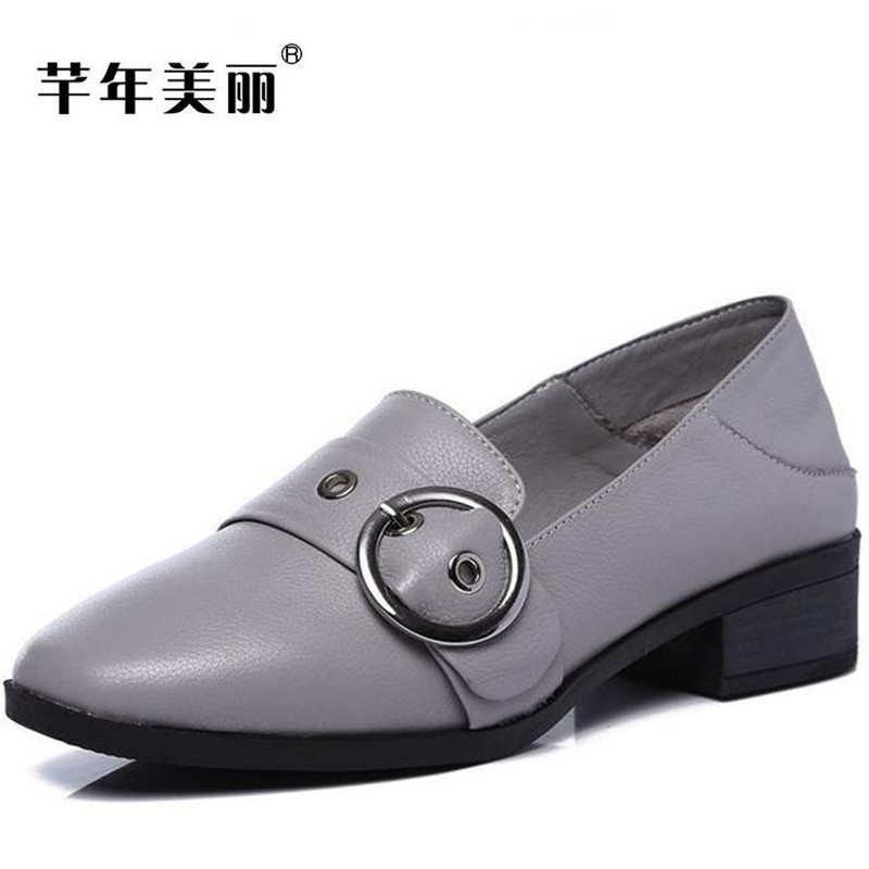 2017 autumn new Genuine leather shallow mouth Female single shoes Large size flats women Shoes Casual work shoes Loafers obuv 2017 new spring female flat heels martin shoes bullock shoes female thick bottom loafers large size women shoes obuv ayakkab