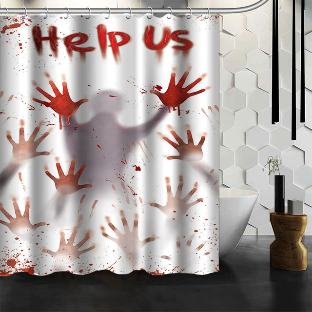 Halloween Shower Curtain Horror Light Pumpkin Lights Castle Cemetery Zombie  Hand Polyester Curtains Holiday Theme Layout
