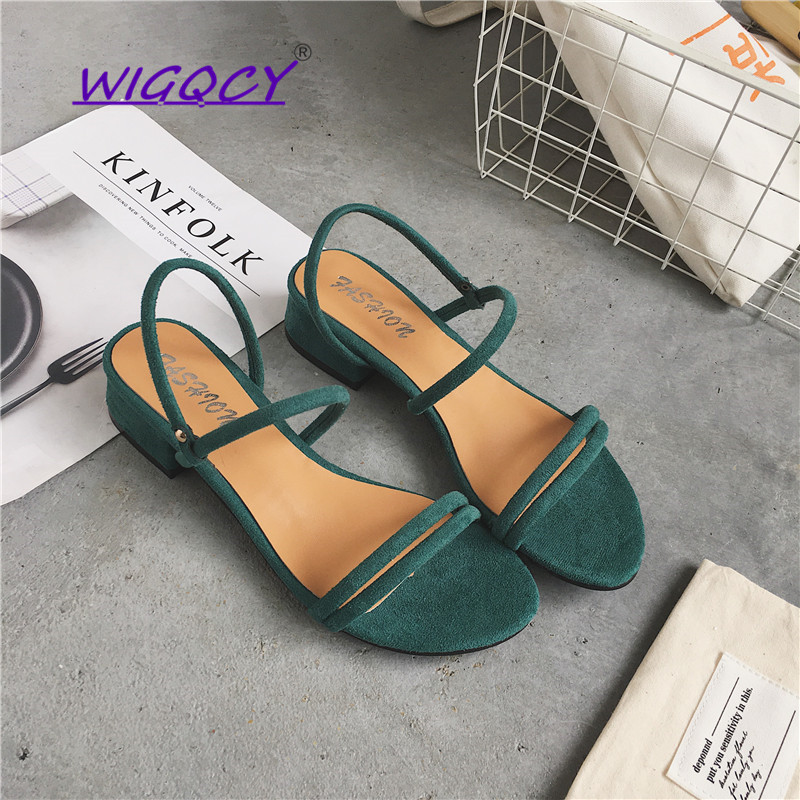 Open toe Suede Square heel sandals women 2019 Summer shoes Fashion Slip-On Office Hollow Rubber sole female