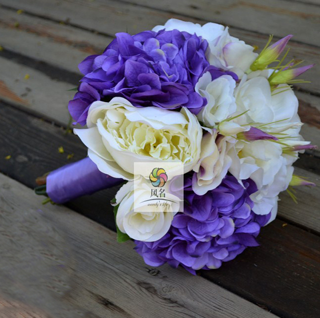 Handmade wedding bride bouquet holding flower bridal bridesmaid handmade wedding bride bouquet holding flower bridal bridesmaid bouquets white purple color artificial flower decor high mightylinksfo