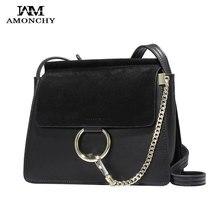 100% Genuine Leather Women Shoulder Bags Famous Brand Metal Ring Chains Crossbody Bag Retro Natural Nubuck Handbag