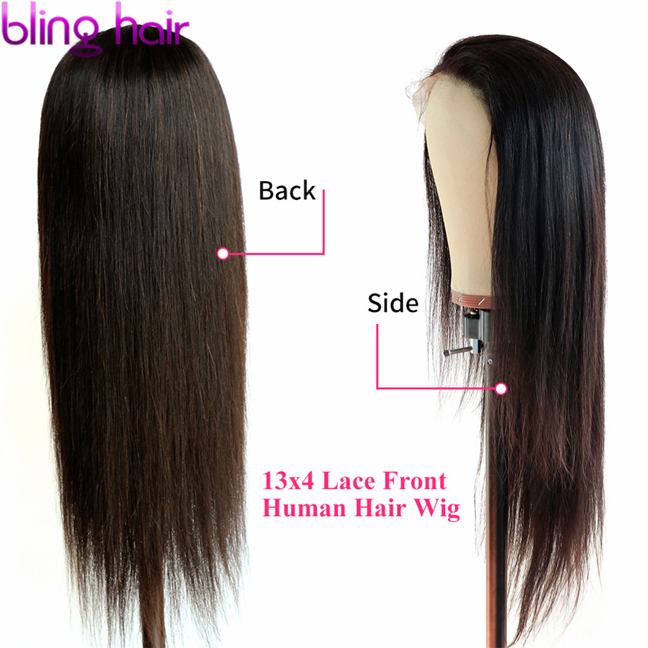 Bling Hair 13 4 Lace Front Human Hair Wigs with Baby Hair Bleached Knots Peruvian Straight