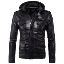 2020 New Europe and America Men's hooded motorcycle leather jacket Autumn Multi-