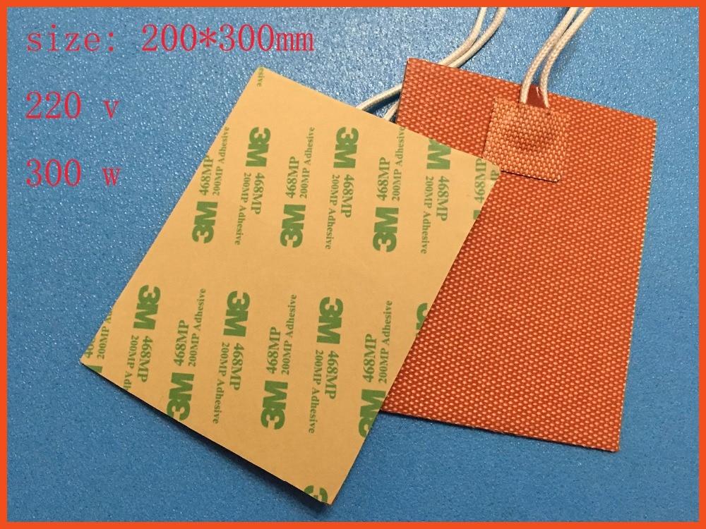 Silicone riscaldamento pad riscaldatore 220 v 300 w 200*300mm per stampante 3d letto calore silicone heater pad/mat  printer 80x100mm silicone riscaldatore letto per stampante 3d silicone heater pad used for dust control of dust collector 250v 250w