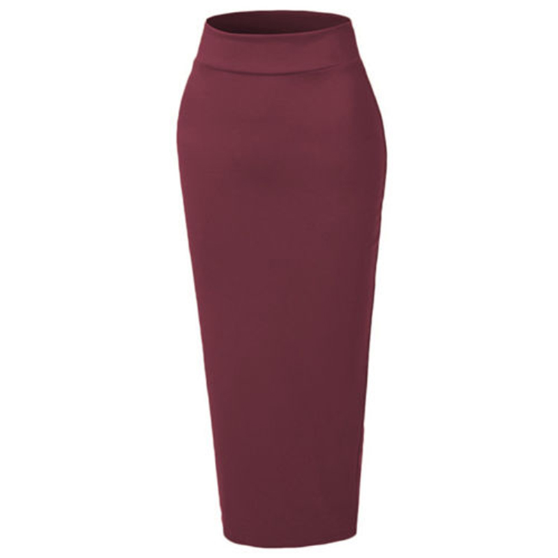 Jupe en coton enveloppée dames élastique tricoté taille haute épais moulante mince Long Maxi couleur unie Skinny mode
