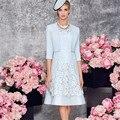 Céu Azul 2017 Mãe Dos Vestidos de Noiva A Linha Lace Altura Do Joelho Com Jaqueta Curta Mãe Vestidos Vestidos de Festa de Casamento