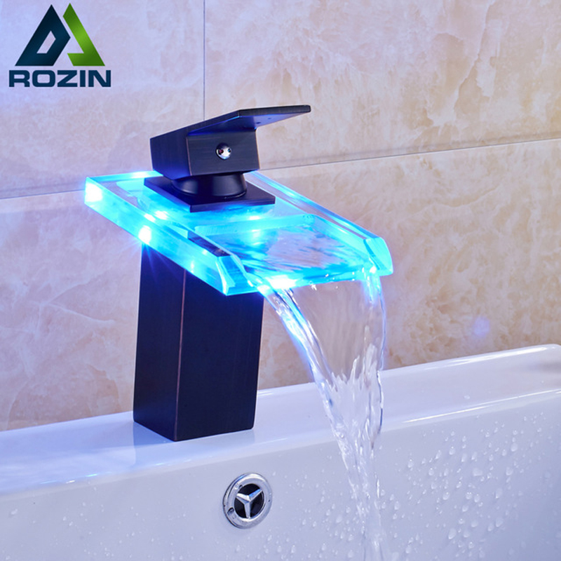 LED Light Glass Waterfall Spout Basin Sink Faucet Single Lever 3 color Changing Hot and Cold Water Vanity Mixer Taps