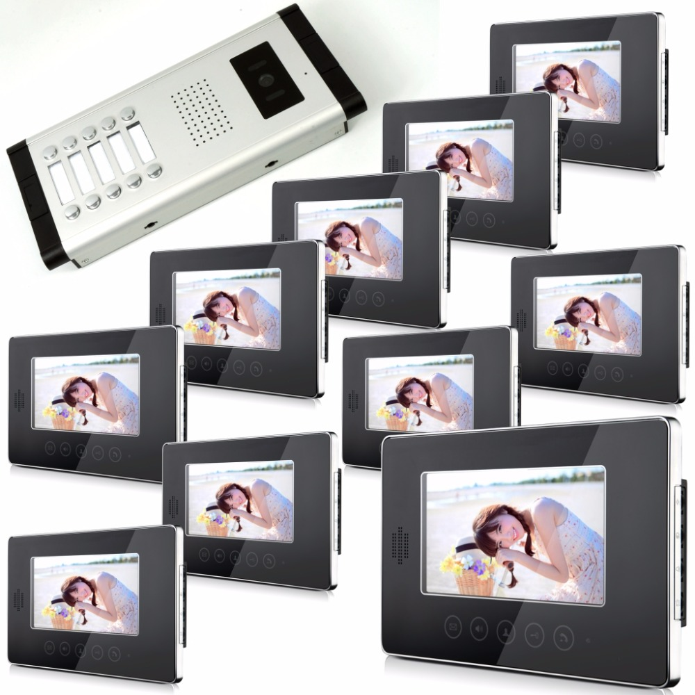 7 Inch Touch Keypad With 10 Screen  Wired Video Door Phone Intercom System handheld game 3 inch touch screen lcd displays 4 way cross keypad polar system