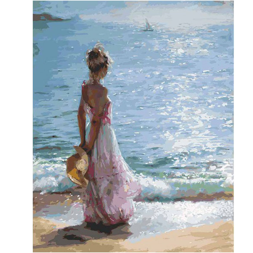 Sea Girl Coloring By Numbers DIY Hand Painted Oil Painting By Numbers On Canvas Wall Pictures For Living Room Digital Arts Decor